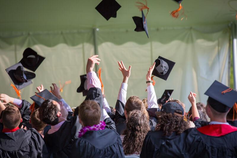 Students throwing caps at graduation, Career Aptitude Test, Miami, FL